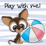 Cachorrinho bonito com uma bola ilustração do vetor