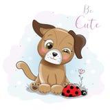 Cachorrinho bonito dos desenhos animados com joaninha ilustração royalty free