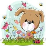 Cachorrinho bonito dos desenhos animados em um prado ilustração royalty free