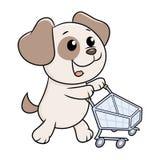 Cachorrinho com carrinho de compras Imagens de Stock Royalty Free