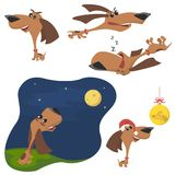 Cachorrinho engraçado dos desenhos animados em poses diferentes A corrida do cachorrinho, cachorrinho senta-se, cachorrinho no ch ilustração royalty free