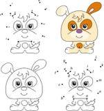 Cachorrinho engraçado e bonito Livro para colorir e ponto para pontilhar o jogo para crianças Imagens de Stock