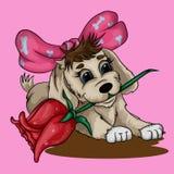 Cachorrinho pequeno com uma rosa ilustração stock