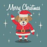 Cachorrinho Santa Claus Cartoon Illustration do Natal Foto de Stock