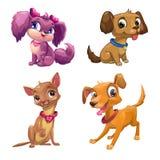 Cachorrinhos pequenos dos desenhos animados engraçados ajustados ilustração royalty free