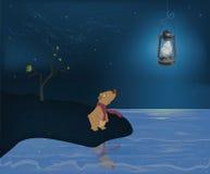 Cachorro de oso y la luna Foto de archivo libre de regalías