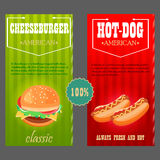 cachorro quente, cheeseburger o alimento é americano tradicional Imagem de Stock