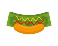 Cachorro quente do negócio Dinheiro no bolo Dinheiro rápido Dólares e mostarda w Foto de Stock