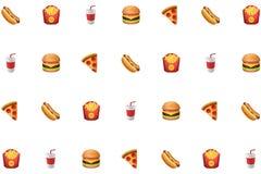 Cachorro quente, fritadas, refresco, Hamburger, comida lixo da pizza no recurso gráfico do fundo branco ilustração royalty free