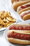 Cachorros quentes com fritadas Fotografia de Stock