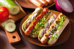 Cachorros quentes grelhados com mostarda da ketchup dos vegetais Fotos de Stock Royalty Free