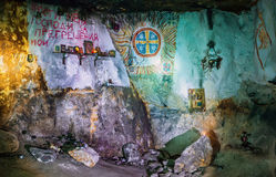 Cachots de Christian Orthodox Grotto In The Siagne Image stock