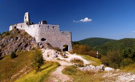 Cachtice Castle. View of ruined Cachtice Castle in the mountains of Trencin in west Slovakia - the castle was once the residence of the world famous serial royalty free stock images