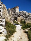 Cachtice castle. Scenic view of ruins of Cachtice castle, Trencin, Slovakia stock images
