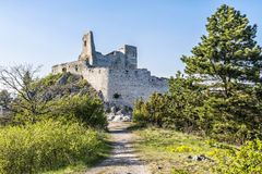 Cachtice castle ruins, Slovakia. Cachtice castle ruins, Slovak republic, central Europe. Seat of bloody countess. Travel destination stock photography