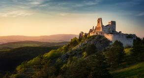 Cachtice Castle, Slovakia during sunset. Cachtice Castle, Slovakia, home of countess Bathory, known from the movie Bathory, during sunset Royalty Free Stock Photography