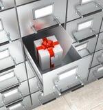 Cacifo de armazenamento arquivístico Caixa branca com uma curva vermelha Fotografia de Stock Royalty Free