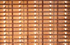 Cacifo de madeira no vintage xintoísmo japonês do templo Fotografia de Stock
