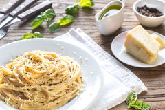 Cacio e Pepe - spaghetti with cheese and pepper Royalty Free Stock Photography