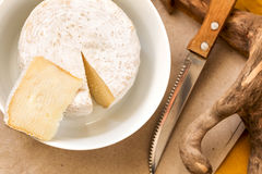 Caciotta slice,  knife and whole mature caciotta cheese Stock Photography