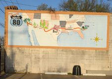 Travel Route 80 Mural, Bishop Arts District, Dallas, Texas. Pictured is a mural entitled Travel Route 80 in the Bishop Arts District, Dallas, Texas.  Interstate Stock Images