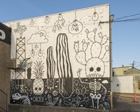 Cactex väggmålning, biskop Arts District, Dallas, Texas Royaltyfri Foto