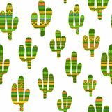 Cacti, decorated with ornaments, seamless, white background. Stock Photo