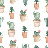 Cacti flower background. Seamless pattern with cactus and succulents in pots. Hand drawn illustration in trendy cute cartoon style stock illustration