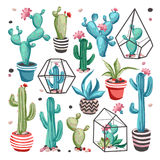 Cacti flower set. Cacti flower collection. Set of cactus and succulents isolated on white background. Hand drawn vector illustration in trendy cartoon style Royalty Free Illustration