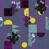 Cacti geometric line shapes modern seamless vector pattern. royalty free illustration