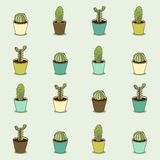 Cacti hand drawn seamless repeat  pattern Stock Images