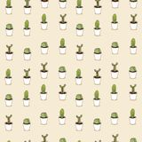 Cacti hand drawn seamless repeat  pattern Stock Image