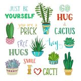 Cacti and hand-written lettering. Stock Photography