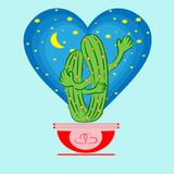 Cacti_lovers royalty free illustration