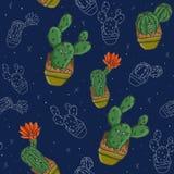 Cacti patern on blue background raster royalty free illustration