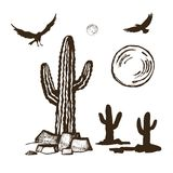 Cacti and silhouettes ravens set. Vector sketch set of cacti and silhouettes of ravens in flight sun and moon vector illustration