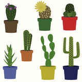Cacti vector collection. Saguaro, agave, joshua tree, prickly pear and other cactuses Stock Photography