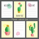 Cacti with watercolor effect Stock Images