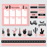 Cacti weekly planner. Vector set of templates: weekly planner, flag stickers, cactus Royalty Free Stock Image