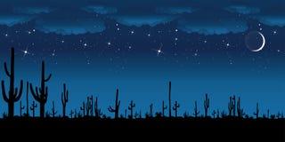 Cacto del Saguaro en la noche. ilustración del vector