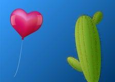 Cacto do coração do balão ilustração stock