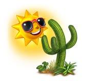 Cacto e Sun ilustração stock