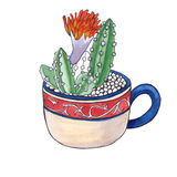 Cacto em um copo watercolor Fotos de Stock Royalty Free
