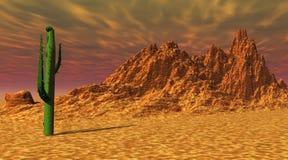 Cacto en el desierto stock de ilustración