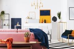 Cacto no potenciômetro na tabela de madeira no apartamento moderno da sala de visitas do coletor da arte, lote das pinturas na pa fotografia de stock