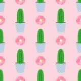 Cactos bonitos, vasos de flores Teste padrão sem emenda com cactos bonitos Natureza, mola Ilustração bonito Fotografia de Stock
