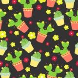 Cactos bonitos, vasos de flores Teste padrão sem emenda com cactos bonitos Natureza, mola Ilustração bonito Fotografia de Stock Royalty Free