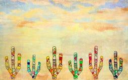 Cactos coloridos do mosaico no fundo textured da parede ilustração royalty free