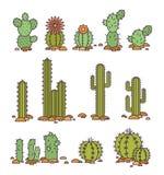 Cactos no deserto Ilustração Elementos do vetor de um logotipo incorporado Foto de Stock