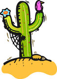 Cactus. In the desert, with bird and flower Royalty Free Stock Photography